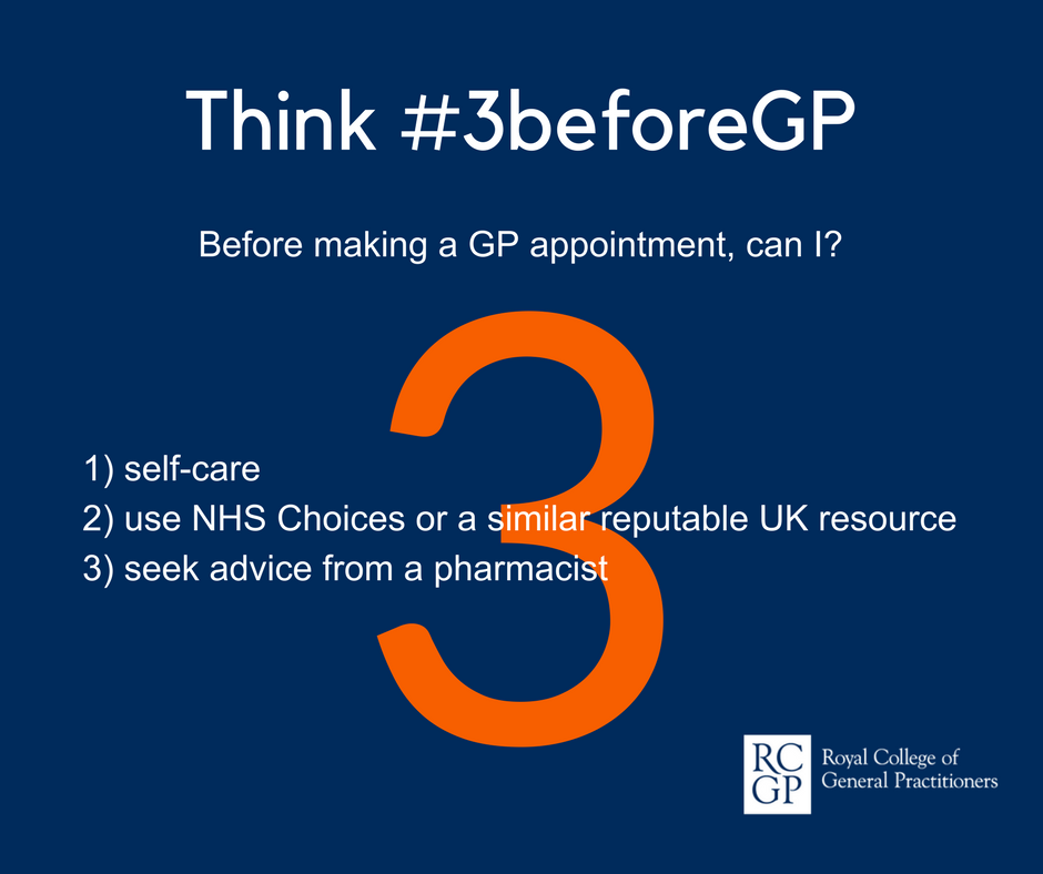 Think 3 before GP. Before making a GP appointments can I… Self-Care, use NHS UK or a similar reputable UK resource, seek advice from a pharmacist