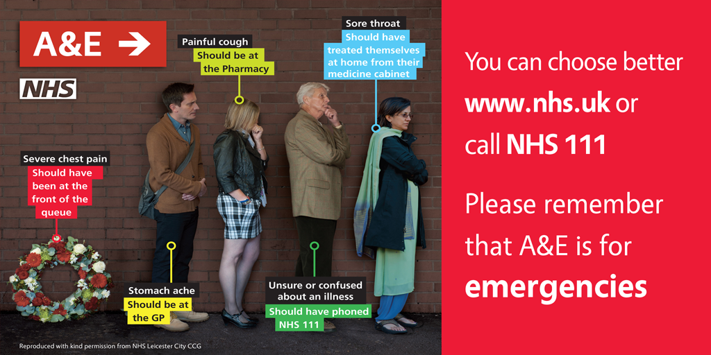 You can choose better. USe www.nhs.uk or call 111. Please remember that A&E is for emergencies